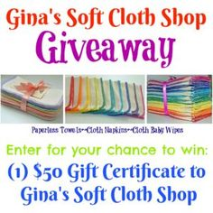 Gina's Soft Cloth Shop Giveaway (Win a $50 Gift Card) ~ Ends 3/26