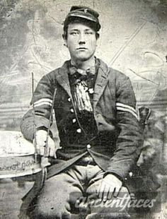 J. Henry Shafer entered the Civil War at the age of 15 as a drummer boy.  This photo shows him with his drumsticks which look like they are made out of small tree branches.  He enlisted with the Iowa Volunteers 4th Infantry and served for the entire war.