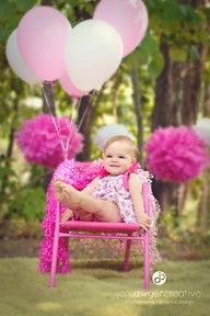 One year picture - cute idea would be to just have one balloon and then add a balloon each year
