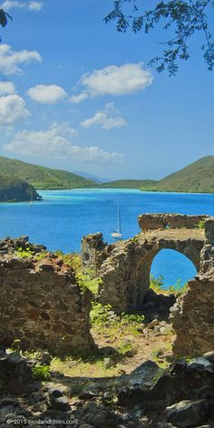 Hike, snorkel and discover St John's history. The Old Danish Guardhouse Ruins, Johnny Horn Trail, looking out over Leinster Bay on St John, USVI.