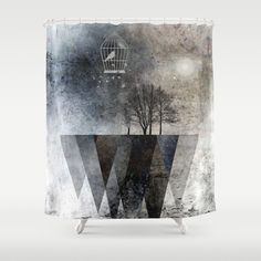 TREES over MAGIC MOUNTAINS I Shower Curtain by Pia Schneider [atelier COLOUR-VISION] #artwork #showercurtain #curtain #bathroom #duschvorhang #gray #blackandwhite #homedecor #decorativepillow #homeaccessories #trees #triangles #birds #landscape #piaschneider #society6 #coolstuff #giftidea