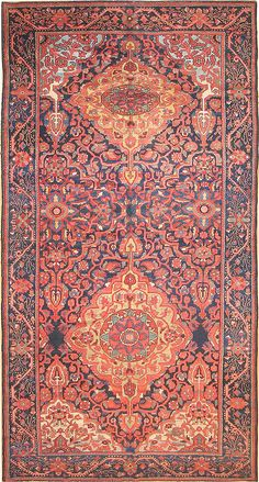 """Antique Bakhtiari Persian Rug 2244 7'1"""" x 12' 6g- By Nazmiyal, use this deep blue ground on two walls"""