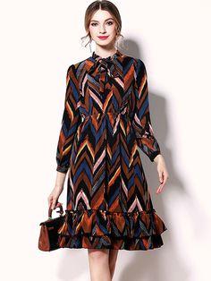 Brown Geometry Printed Flounce Hem A-line Midi Dress