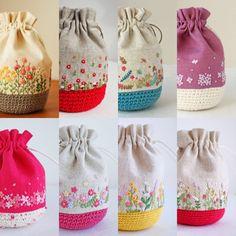 コロコロ巾着 | * Slow life * Embroidery Purse, Ribbon Embroidery, Cross Stitch Embroidery, Embroidery Patterns, Crochet Patterns, Fabric Purses, Fabric Bags, Fabric Crafts, Sewing Crafts