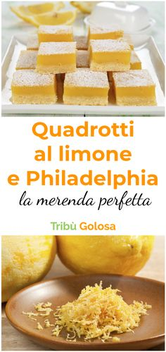 With a base of puff pastry, a filling with Philadelphia e juice with the addition of grated rind of these they are very fragrant! Flan, Lemon Squares, Nutella Recipes, Cooking Recipes, Healthy Recipes, Fall Desserts, Finger Foods, Family Meals, Philadelphia