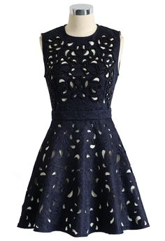 Eternal Charm Beads Cutout Embossed Dress in Navy