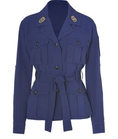 Persian Blue Silk-Blend Belted Military Jacket by Emilio Pucci