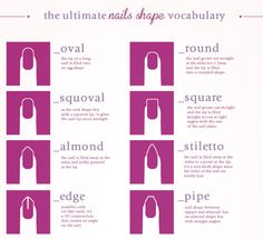 The ultimate Nail Shape vocabulary More Visual Glossaries (for Her):Backpacks / Bags / Bobby Pins / Bra Types / Hats /Belt knots / Coats /...