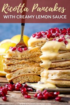 These Ricotta Pancakes with Creamy Lemon Sauce - are creamy, pillowy and delicious. Something a little bit different for your weekend brunch. #ricotta #pancakes #lemon #breakfast #brunch Delicious Breakfast Recipes, Vegan Recipes Easy, Easy Dinner Recipes, Beef Recipes, Cooking Recipes, Brunch Recipes, Family Recipes, Kitchen Recipes, Recipies