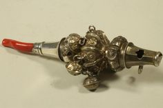 Lot 240 - AN VICTORIAN SILVER RATTLE/WHISTLE, no maker