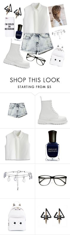"""Untitled #602"" by nikola-sperlikova ❤ liked on Polyvore featuring Dr. Martens, Chicwish, Deborah Lippmann, New Look, ZeroUV, Anya Hindmarch and Missguided"