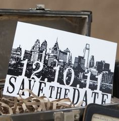 Inform your guests of your upcoming wedding in the city of brotherly love with this Vintage Skyline Postcard Save the Date (Philadelphia)