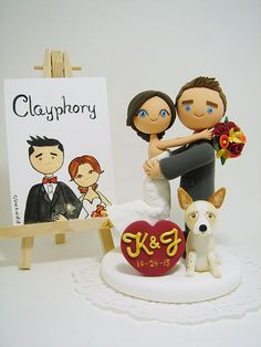 Lovely couple custom wedding cake topper with dog by Clayphory