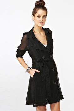 Definitely the best trench coat I have ever seen - $68 Chiffon Trench Coat from Nasty Gal