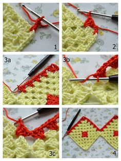 Diy Crafts - How-to make a Granny Square Curtain Dear friends, I've promised on Saturday I'd post a how-to for the bathroom curta. Crochet Blocks, Granny Square Crochet Pattern, Afghan Crochet Patterns, Crochet Squares, Crochet Granny, Baby Knitting Patterns, Crochet Motif, Crochet Designs, Crochet Stitches