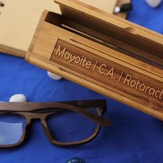 17ef63665f Our wooden eyewear comes in a chic bamboo box that can be customized with  text of your choice. Personalize your eyeglasses with a name or a quote! ...