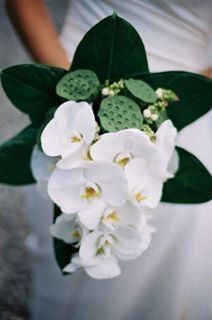 Wedding bouquet - phalaenopsis orchids & lotus pods
