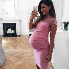 Asks Maternity Lace Insert Bodycon Dress
