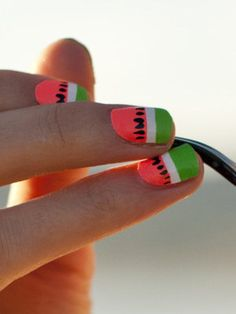 "Nothing says ""summer"" like watermelon nails. 