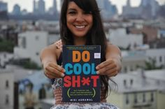 """Miki with her book galley for """"Do Cool Sh*t""""."""