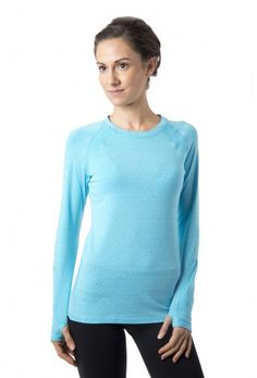 Aspire LS T - Women's long sleeve workout and running shirt with thumb holes in surf's up blue with white.