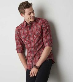 AEO Plaid Western Shirt