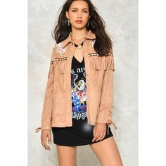 Nasty Gal All For the West Vegan Suede Jacket ($50) ❤ liked on Polyvore featuring outerwear, jackets, camel, red faux leather jacket, fringe jacket, imitation leather jacket, vegan leather jacket and faux leather jacket