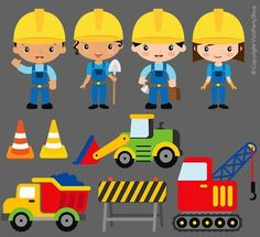 Construction Items Clipart Printable Instant download PNG