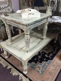 Vintage Market & Mall's end table creation painted with our drop cloth and peacock chalk paint. The tables have a satin finish top coat to protect the top.