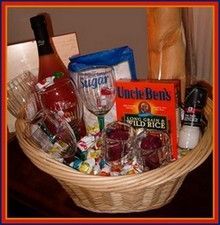 New home blessings basket, with an assortment of small gifts, along with a printable scroll to explain the symbolism of each gift.