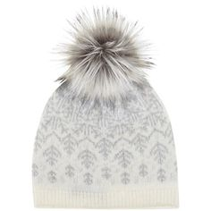 Mint Velvet Fairisle Faux Fur Pom Pom Hat, Cream/Grey ($52) ❤ liked on Polyvore featuring accessories, hats, beanie, gorro, head, gray hat, beanie cap, cream beanie, faux fur pom pom hat and beanie cap hat