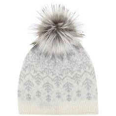 Mint Velvet Fairisle Faux Fur Pom Pom Hat, Cream/Grey ($52) ❤ liked on Polyvore featuring accessories, hats, beanie, gorro, head, gray hat, beanie cap, cream beanie, faux fur pom pom hat and beanie cap hat