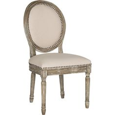 Brimming with French country charm, this linen-upholstered side chair boasts elegant nailhead trim, a rustic oak finish, and Provencal-style oval back. ...