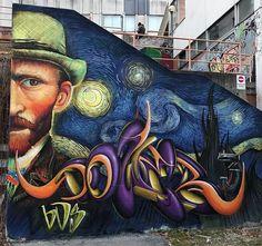 at Palestra E. Majorana in Seriate, Bergamo, Italy, 2019 Street Art Love, Street Wall Art, Murals Street Art, Amazing Street Art, Street Art Graffiti, Graffiti Kunst, Graffiti Murals, Vincent Van Gogh, Graffiti Writing