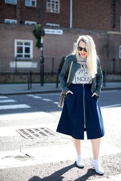 Midi Skirt, Slogan Tee & Reiss jacket - mediamarmalade.com