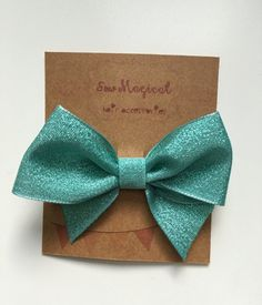 $2.50 Teal Clip in Hair Bow by SewMagicalByAndrea on Etsy