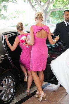 classy pink bridesmaid dresses with bow back! I adore these!