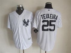 Yankees #25 Mark Teixeira New White Strip Cool Base Stitched MLB Jersey