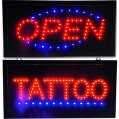 """Bright Tattoo Parlor Studio & Open LED Shop Store Business Sign neon 19x10""""…"""