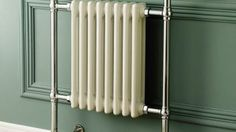 Traditional Towel Rail Radiator & Valves - Cast Iron Heated Chrome Column for sale White Towel Rail, Chrome Towel Rail, White Towels, Traditional Towel Radiator, Traditional Radiators, Traditional Furniture, Bathroom Radiators, Bathroom Furniture, Modern Traditional