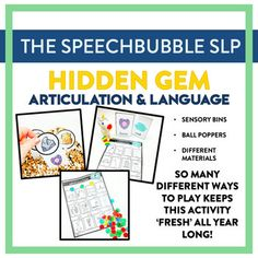 Hidden Gems Articulation and Language: Engaging kids doesn't have to mean session prep burnout! Hidden Gems Articulation and Language is a LOW PREP resource that gives you the flexibility the engage your kids in different ways while targeting their speech and language goals. #slp #schoolslp #speechtherapy