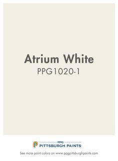Atrium White PPG1020-1  from PPG Pittsburgh Paints. Whites should only be intentional, not used as default colors. This is a pure and serene white that is both peaceful and clean - an ideal paint color choice for spaces that brighten, inspire and stimulate.