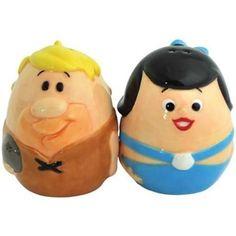 Flintstones Barney and Betty Egg Shaped Painted Ceramic Salt & Pepper Shaker…
