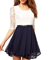 5323fde61ad White Half Sleeve Top Opposites Navy Chiffon Dress Belt Dress Lace