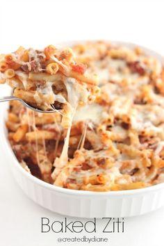 Italian Baked Ziti, with pasta, ground beef, marinara sauce, and Mozzarella Cheese