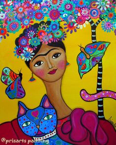 Frida Kahlo and her Cat Original Whimsical Modern by prisarts CHRISTMAS SALE PROMOTION! 30% off Use code: XMASSALE30 Promo ends December 30, 2015 https://www.etsy.com/shop/prisarts