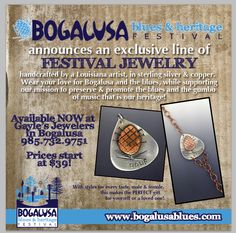 Christy Barrett created these fabulous iconic pieces for the Blues Fest for Gayle Jewelers in Bogalusa, LA