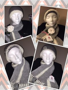 This set is a gift for My Daughter Christina... The Scarf is Vanna's Choice/Silver Heather and Red Heart/ Off White. The Hat is Red Heart with Love /Pewter