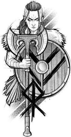 Norse Mythology Tattoo, Norse Tattoo, Viking Tattoos, Tattoo Sketches, Tattoo Drawings, Art Sketches, Art Drawings, Viking Symbols, Viking Art