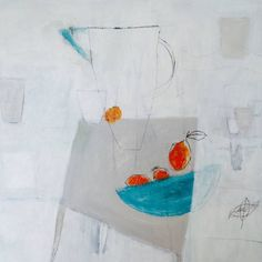 "Saatchi Art Artist pouke halpern; Painting, ""Blue bowl with tangerines"" #art"